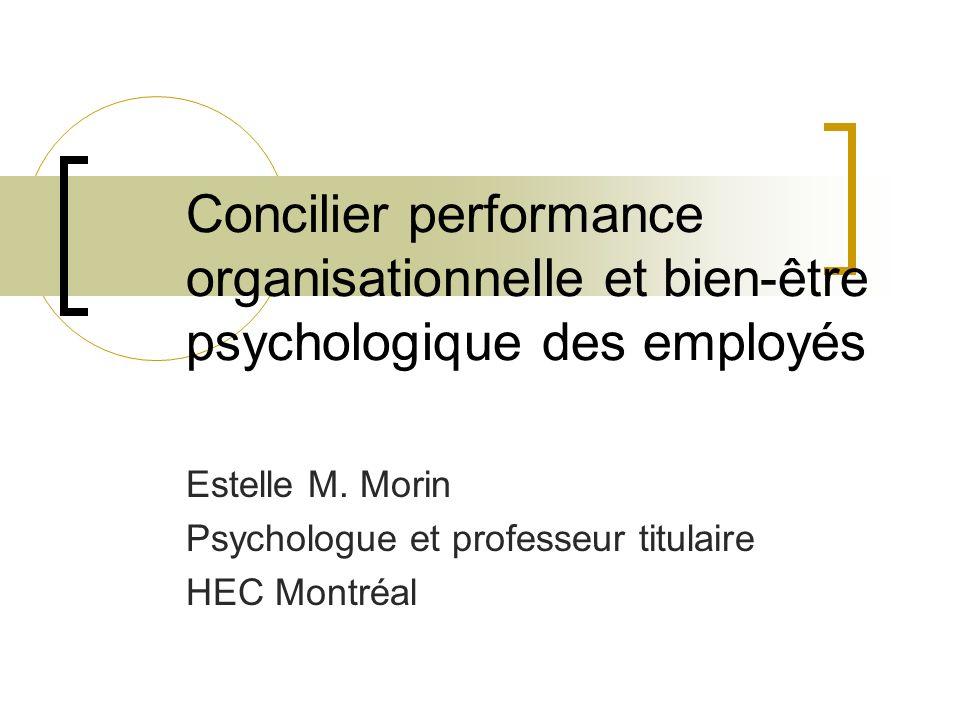 Concilier performance organisationnelle et bien-être psychologique des employés Estelle M. Morin Psychologue et professeur titulaire HEC Montréal