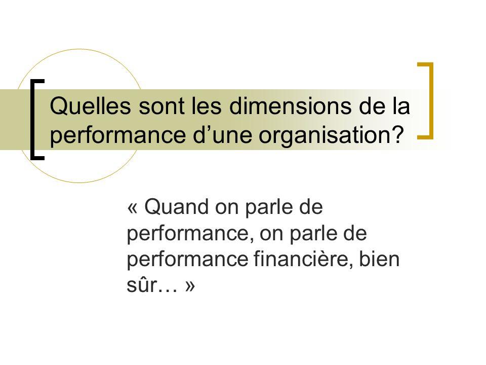 Quelles sont les dimensions de la performance dune organisation? « Quand on parle de performance, on parle de performance financière, bien sûr… »
