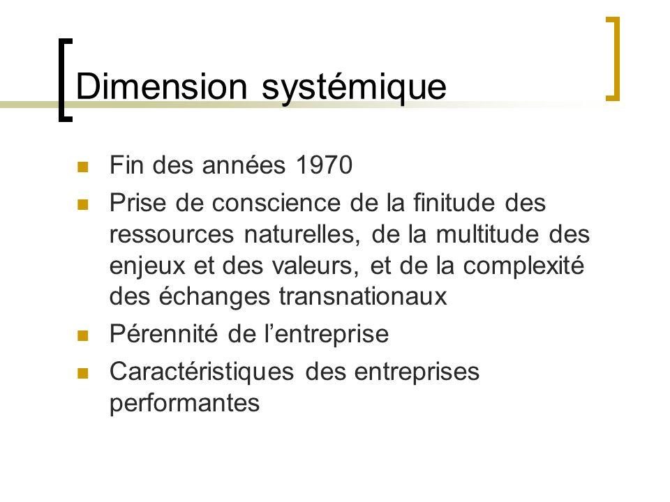 Dimension systémique Fin des années 1970 Prise de conscience de la finitude des ressources naturelles, de la multitude des enjeux et des valeurs, et d