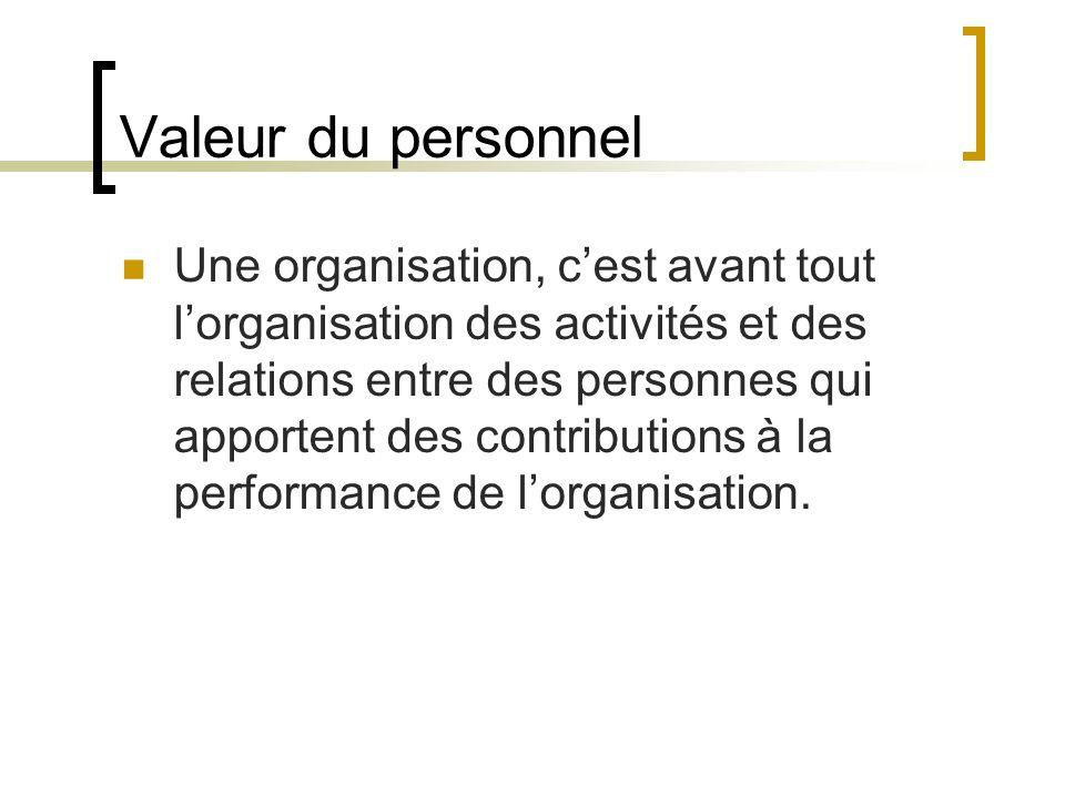 Valeur du personnel Une organisation, cest avant tout lorganisation des activités et des relations entre des personnes qui apportent des contributions