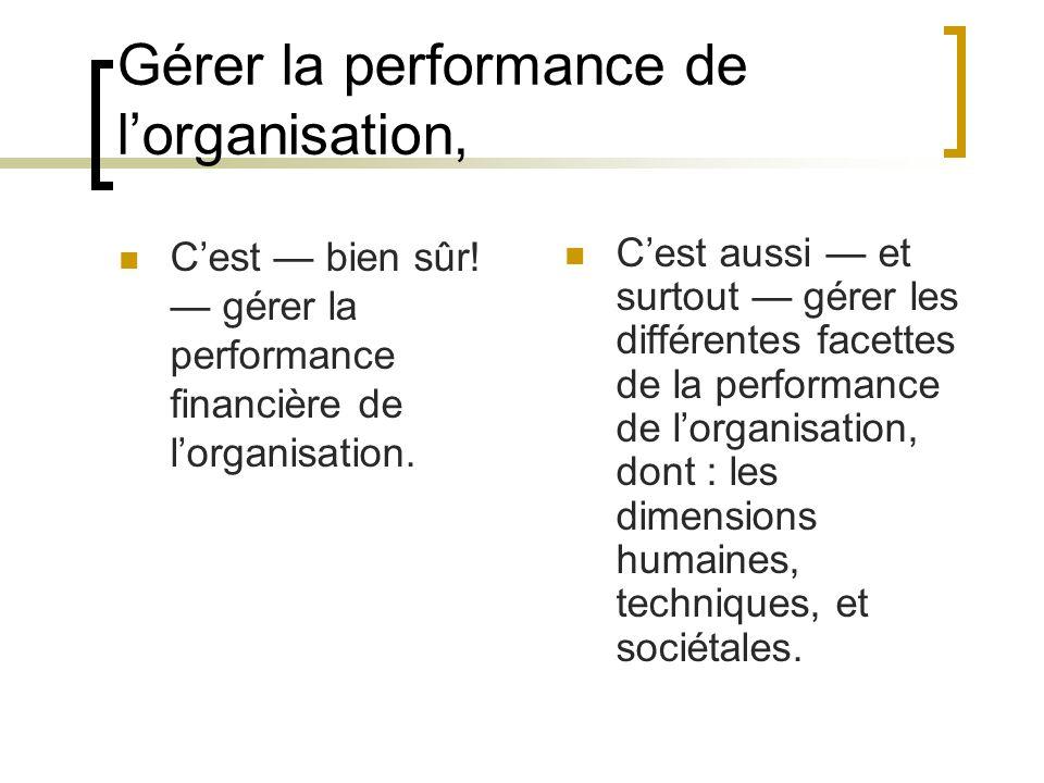 Gérer la performance de lorganisation, Cest bien sûr! gérer la performance financière de lorganisation. Cest aussi et surtout gérer les différentes fa