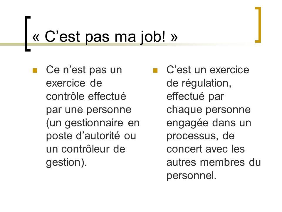 « Cest pas ma job! » Ce nest pas un exercice de contrôle effectué par une personne (un gestionnaire en poste dautorité ou un contrôleur de gestion). C