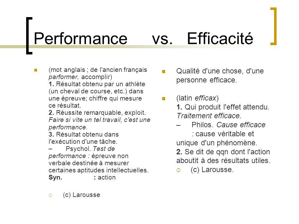 Performance vs. Efficacité (mot anglais ; de l'ancien français parformer, accomplir) 1. Résultat obtenu par un athlète (un cheval de course, etc.) dan