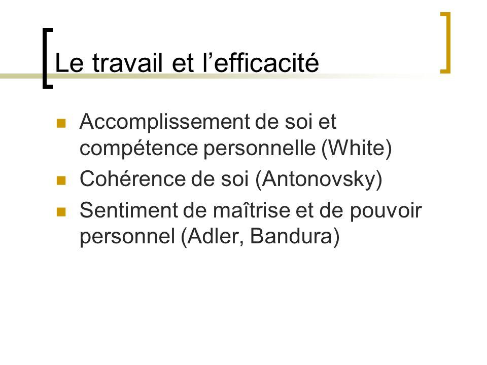 Le travail et lefficacité Accomplissement de soi et compétence personnelle (White) Cohérence de soi (Antonovsky) Sentiment de maîtrise et de pouvoir p