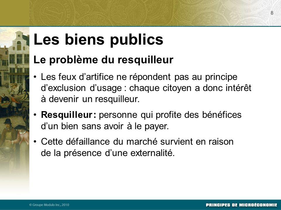 Puisque les biens publics échappent au principe dexclusion dusage, la présence de resquilleurs empêche le marché privé de les offrir.