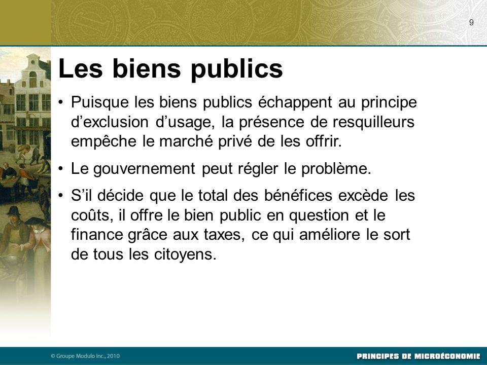 Quelques biens publics importants La défense nationale.
