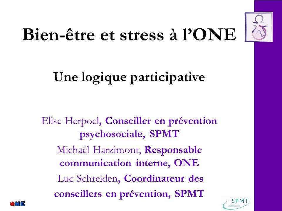 Bien-être et stress à lONE Une logique participative Elise Herpoel, Conseiller en prévention psychosociale, SPMT Michaël Harzimont, Responsable commun