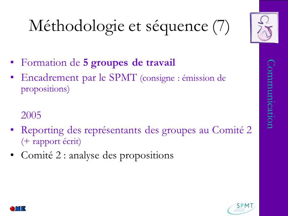 Méthodologie et séquence (7) Formation de 5 groupes de travail Encadrement par le SPMT (consigne : émission de propositions) 2005 Reporting des représ