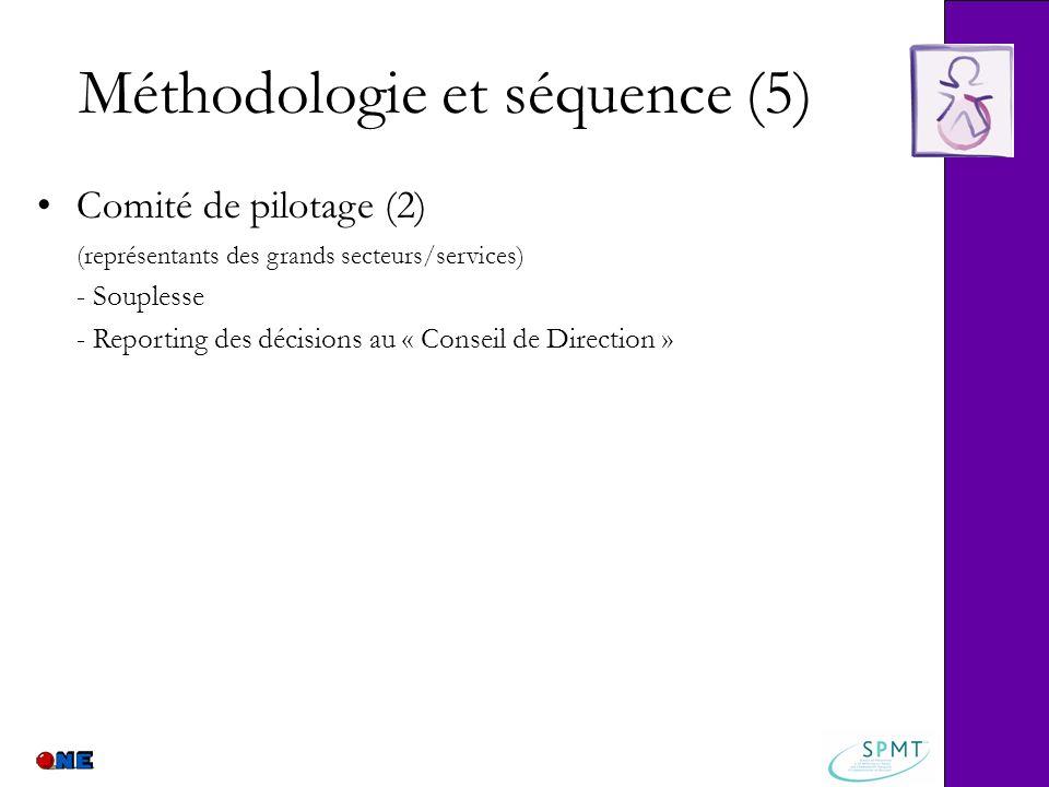 Méthodologie et séquence (5) Comité de pilotage (2) (représentants des grands secteurs/services) - Souplesse - Reporting des décisions au « Conseil de