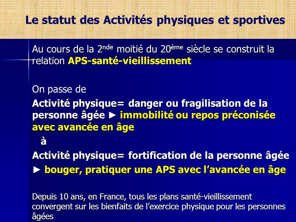 Le statut des Activités physiques et sportives Au cours de la 2 nde moitié du 20 ème siècle se construit la relation Au cours de la 2 nde moitié du 20