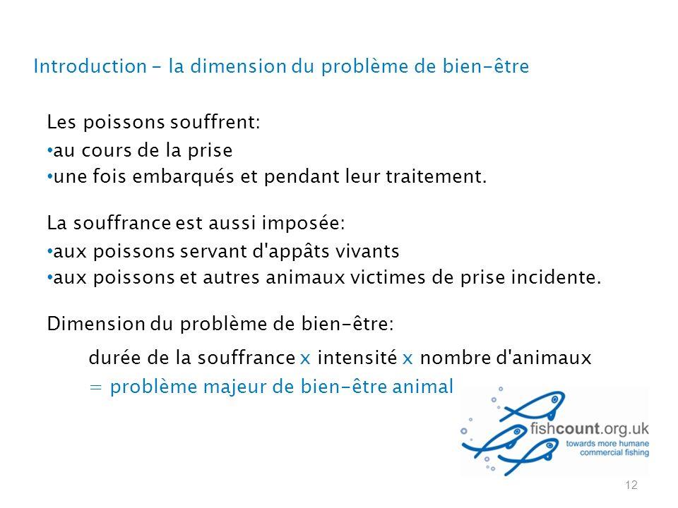 Les poissons souffrent: au cours de la prise une fois embarqués et pendant leur traitement.
