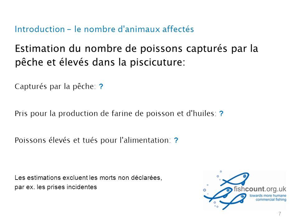 Introduction - le nombre d animaux affectés Estimation du nombre de poissons capturés par la pêche et élevés dans la piscicuture: Capturés par la pêche: .