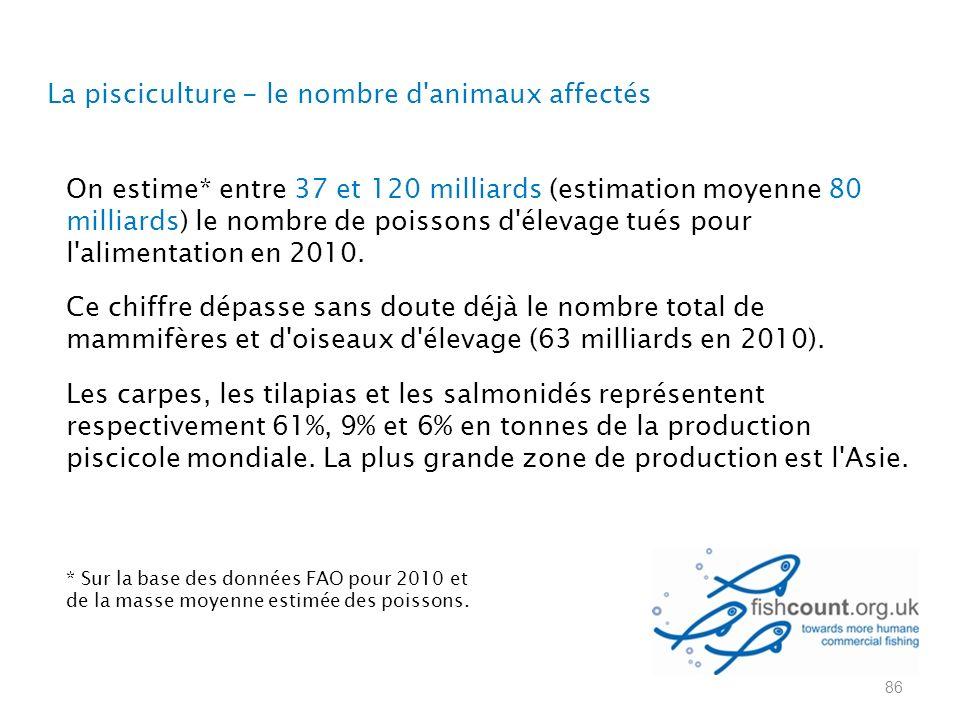 La pisciculture - le nombre d animaux affectés On estime* entre 37 et 120 milliards (estimation moyenne 80 milliards) le nombre de poissons d élevage tués pour l alimentation en 2010.