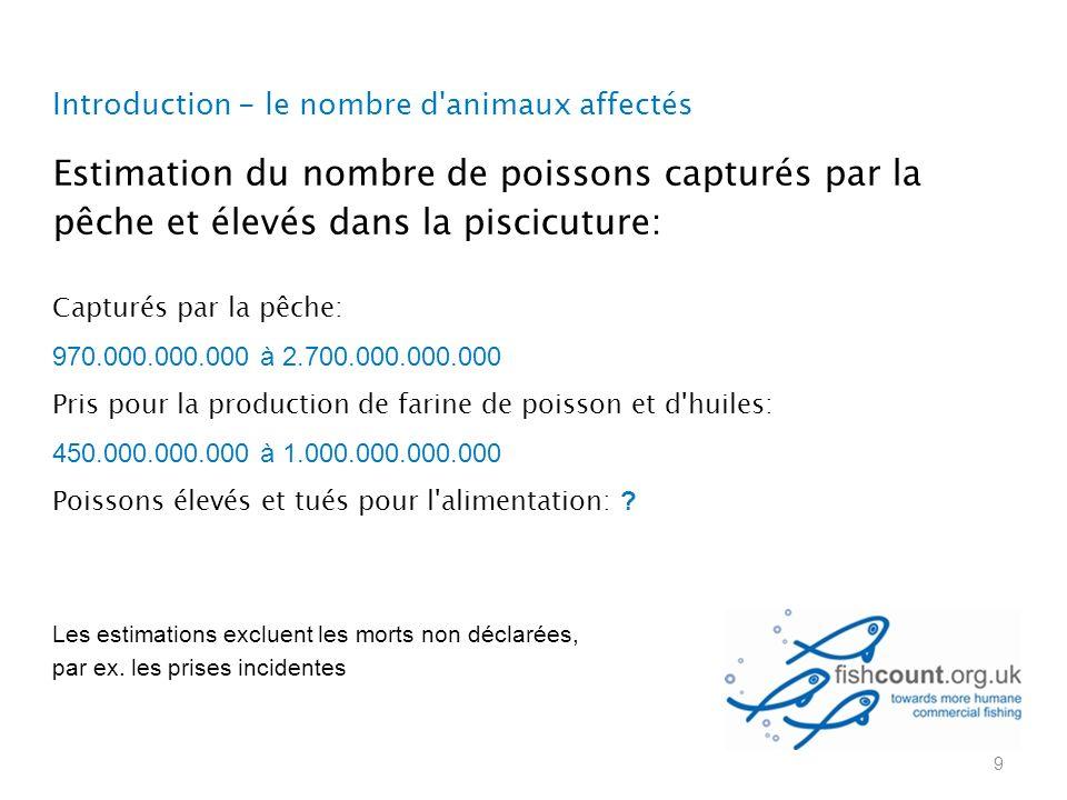 Introduction - le nombre d animaux affectés Estimation du nombre de poissons capturés par la pêche et élevés dans la piscicuture: Capturés par la pêche: 970.000.000.000 à 2.700.000.000.000 Pris pour la production de farine de poisson et d huiles: 450.000.000.000 à 1.000.000.000.000 Poissons élevés et tués pour l alimentation: .