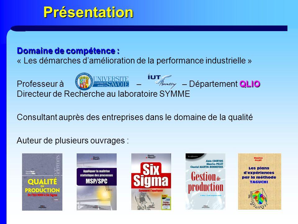 Présentation QLIO Professeur à – – Département QLIO Directeur de Recherche au laboratoire SYMME Consultant auprès des entreprises dans le domaine de l