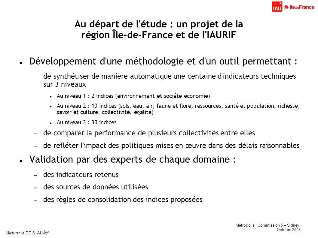 Métropolis : Commission 5 – Sidney, Octobre 2008 Mesurer le DD & IAU-Îdf Au départ de l'étude : un projet de la région Île-de-France et de l'IAURIF Dé