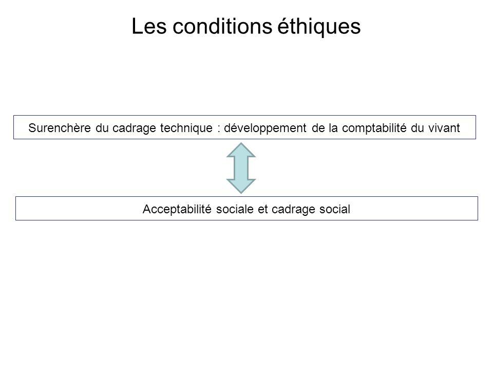 Les conditions éthiques Surenchère du cadrage technique : développement de la comptabilité du vivant Acceptabilité sociale et cadrage social
