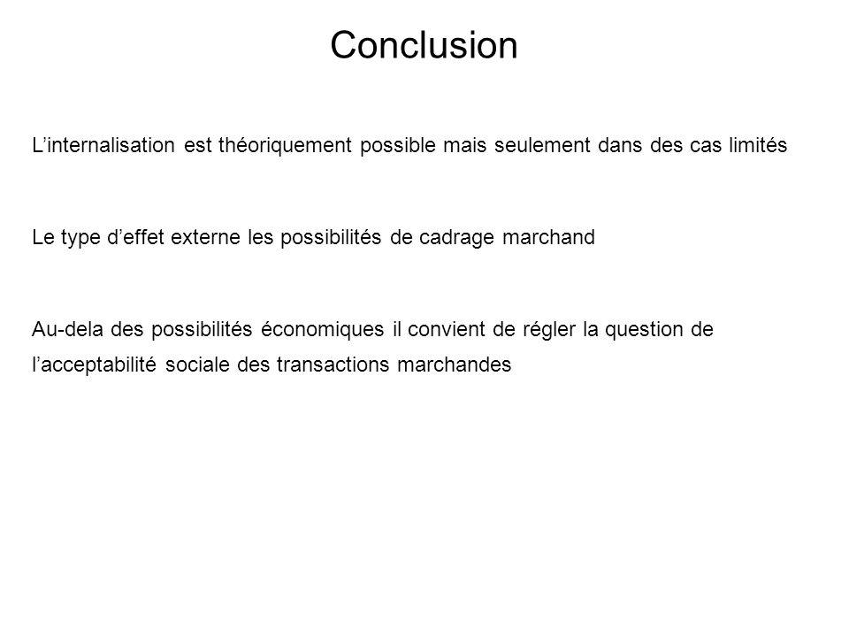 Conclusion Linternalisation est théoriquement possible mais seulement dans des cas limités Le type deffet externe les possibilités de cadrage marchand