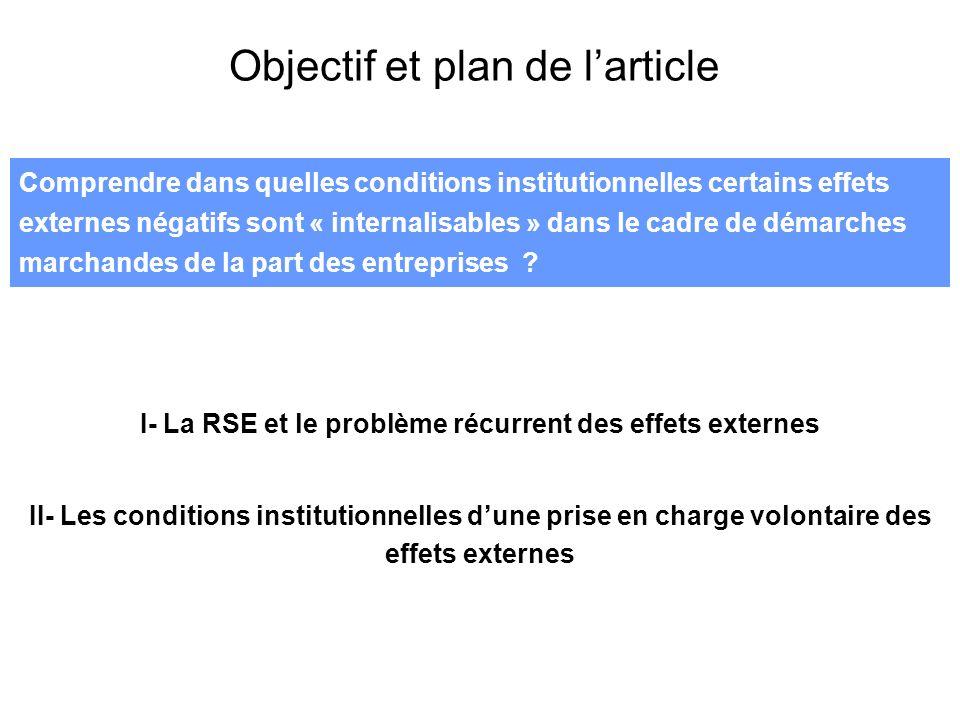 Comprendre dans quelles conditions institutionnelles certains effets externes négatifs sont « internalisables » dans le cadre de démarches marchandes de la part des entreprises .