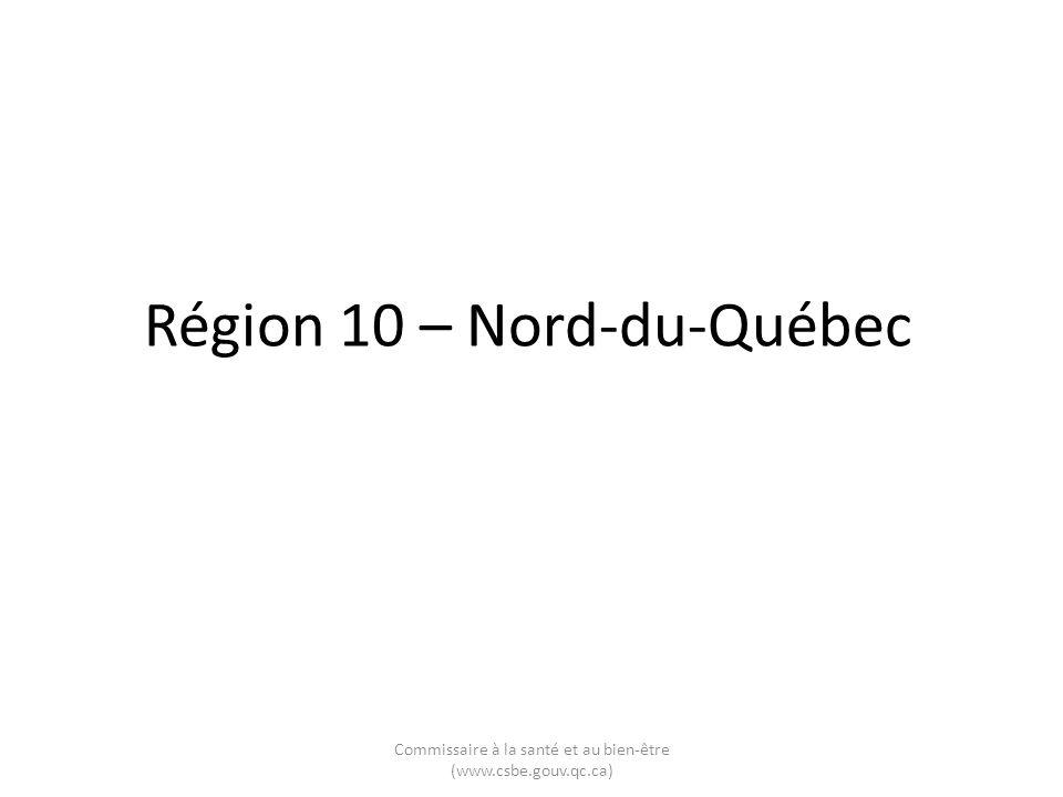 Région 10 – Nord-du-Québec Commissaire à la santé et au bien-être (www.csbe.gouv.qc.ca)