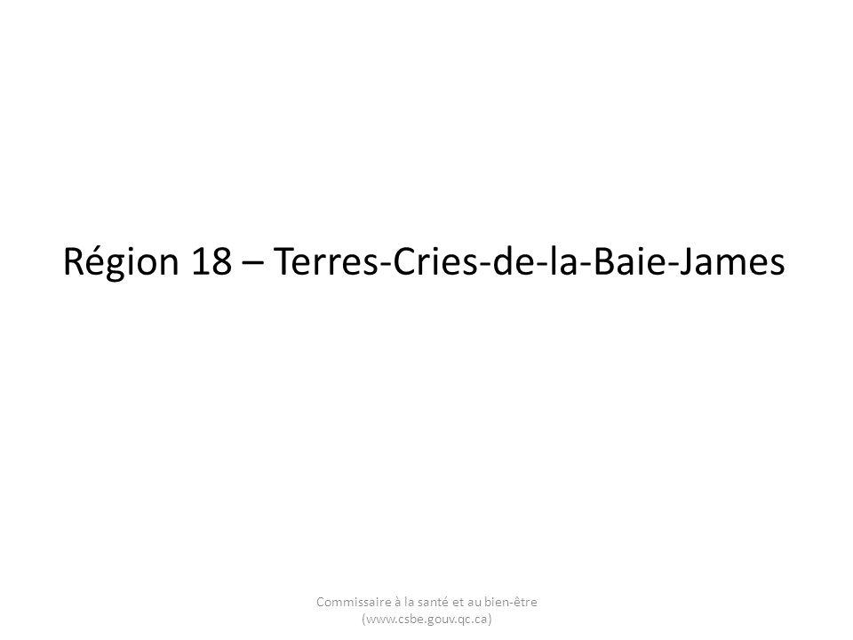 Région 18 – Terres-Cries-de-la-Baie-James Commissaire à la santé et au bien-être (www.csbe.gouv.qc.ca)