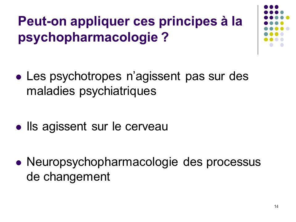 Peut-on appliquer ces principes à la psychopharmacologie ? Les psychotropes nagissent pas sur des maladies psychiatriques Ils agissent sur le cerveau