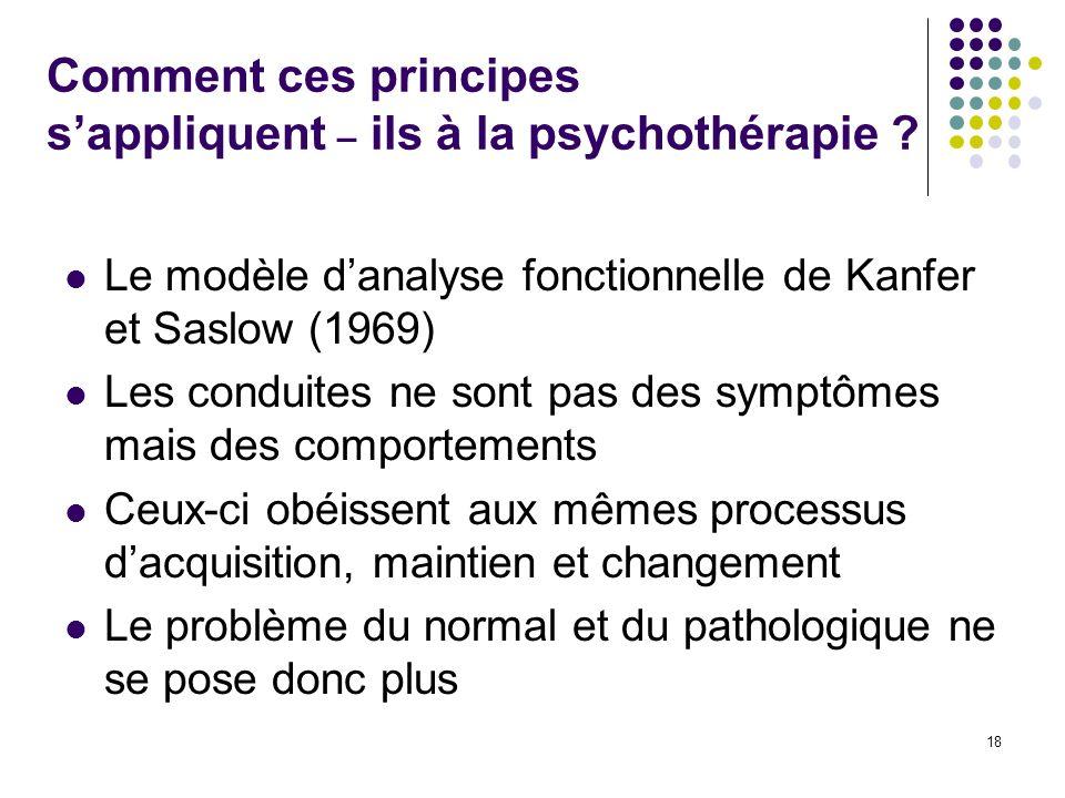 Comment ces principes sappliquent – ils à la psychothérapie ? Le modèle danalyse fonctionnelle de Kanfer et Saslow (1969) Les conduites ne sont pas de