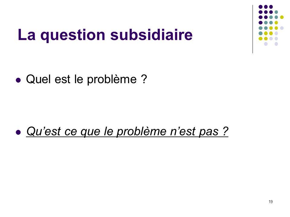 La question subsidiaire Quel est le problème ? Quest ce que le problème nest pas ? 19