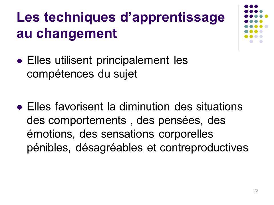 Les techniques dapprentissage au changement Elles utilisent principalement les compétences du sujet Elles favorisent la diminution des situations des
