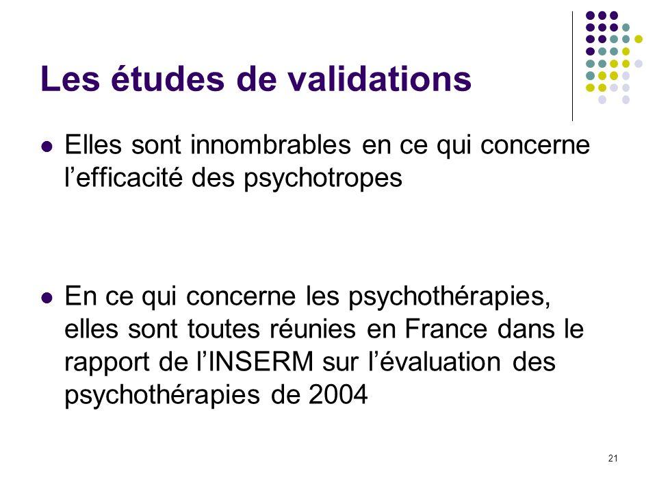 Les études de validations Elles sont innombrables en ce qui concerne lefficacité des psychotropes En ce qui concerne les psychothérapies, elles sont t