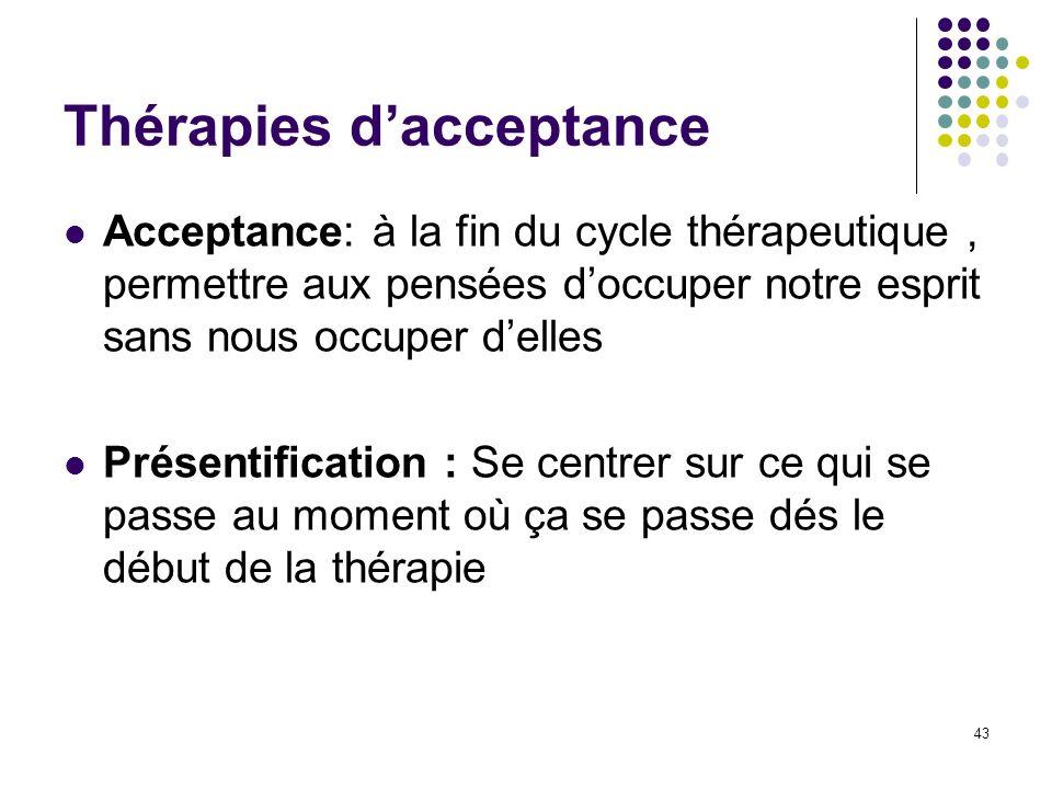 Thérapies dacceptance Acceptance: à la fin du cycle thérapeutique, permettre aux pensées doccuper notre esprit sans nous occuper delles Présentificati