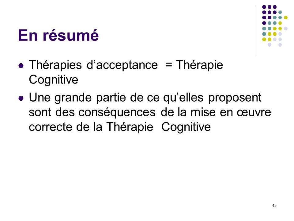 En résumé Thérapies dacceptance = Thérapie Cognitive Une grande partie de ce quelles proposent sont des conséquences de la mise en œuvre correcte de l