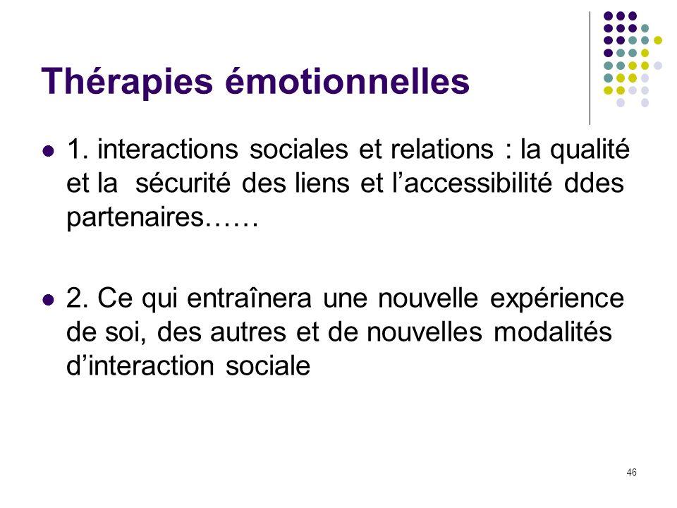 Thérapies émotionnelles 1. interactions sociales et relations : la qualité et la sécurité des liens et laccessibilité ddes partenaires…… 2. Ce qui ent