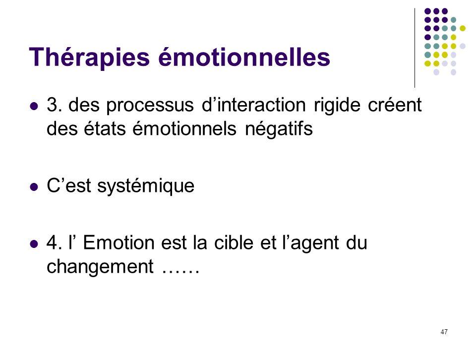 Thérapies émotionnelles 3. des processus dinteraction rigide créent des états émotionnels négatifs Cest systémique 4. l Emotion est la cible et lagent