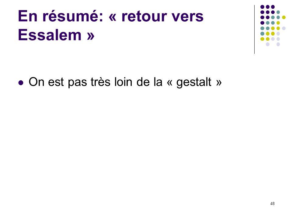 En résumé: « retour vers Essalem » On est pas très loin de la « gestalt » 48