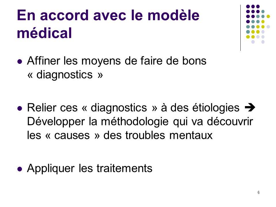 En accord avec le modèle médical Affiner les moyens de faire de bons « diagnostics » Relier ces « diagnostics » à des étiologies Développer la méthodo