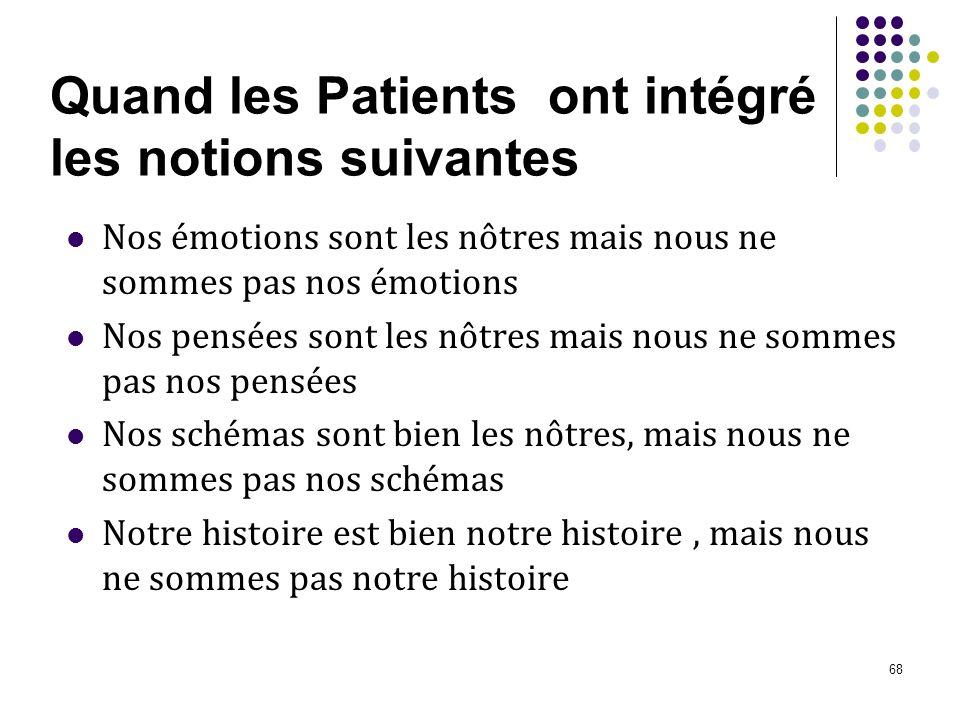 68 Quand les Patients ont intégré les notions suivantes Nos émotions sont les nôtres mais nous ne sommes pas nos émotions Nos pensées sont les nôtres