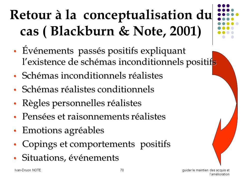 Ivan-Druon NOTE70guider le maintien des acquis et l'amélioration Retour à la conceptualisation du cas ( Blackburn & Note, 2001) Événements passés posi