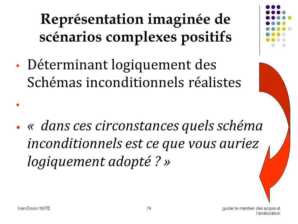 Ivan-Druon NOTE74guider le maintien des acquis et l'amélioration Représentation imaginée de scénarios complexes positifs Déterminant logiquement des S