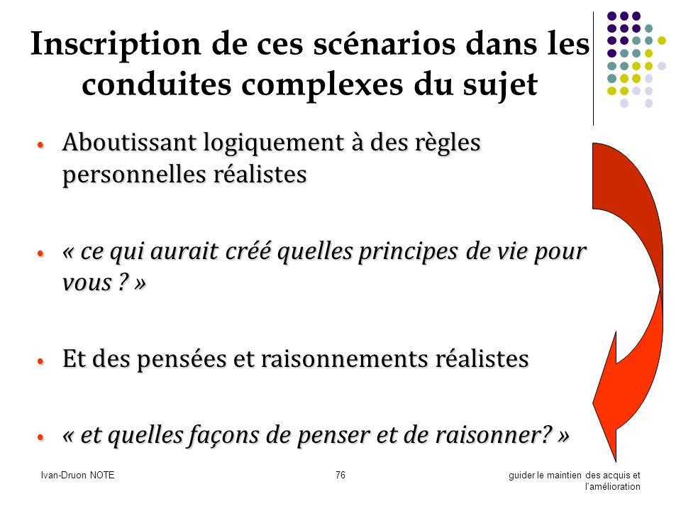 Ivan-Druon NOTE76guider le maintien des acquis et l'amélioration Inscription de ces scénarios dans les conduites complexes du sujet Aboutissant logiqu