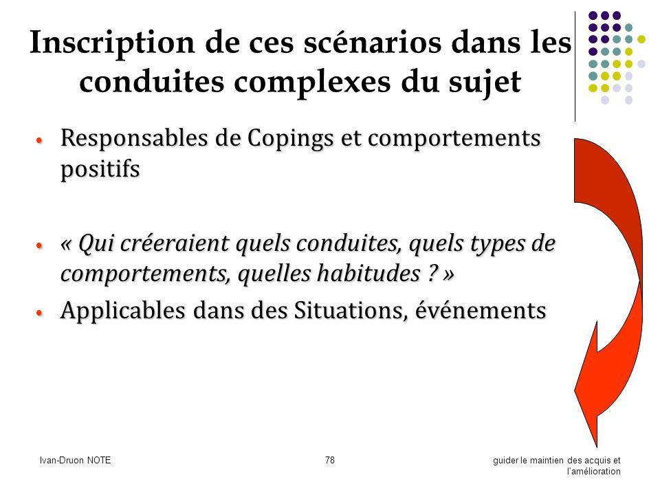 Ivan-Druon NOTE78guider le maintien des acquis et l'amélioration Inscription de ces scénarios dans les conduites complexes du sujet Responsables de Co