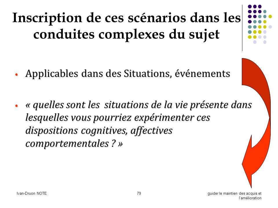 Ivan-Druon NOTE79guider le maintien des acquis et l'amélioration Inscription de ces scénarios dans les conduites complexes du sujet Applicables dans d