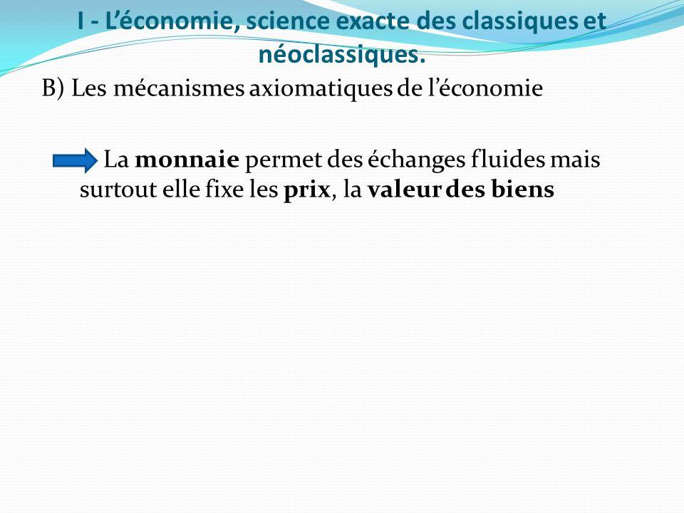 I - Léconomie, science exacte des classiques et néoclassiques. B) Les mécanismes axiomatiques de léconomie La monnaie permet des échanges fluides mais
