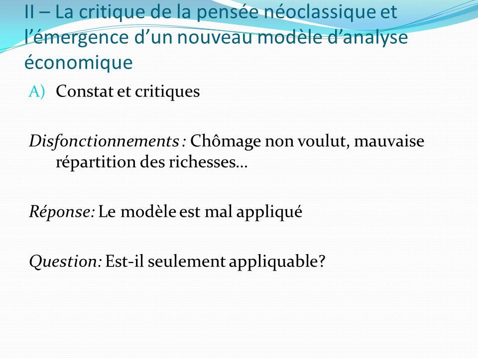 II – La critique de la pensée néoclassique et lémergence dun nouveau modèle danalyse économique A) Constat et critiques Disfonctionnements : Chômage n