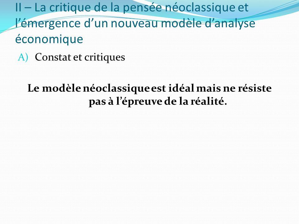 II – La critique de la pensée néoclassique et lémergence dun nouveau modèle danalyse économique A) Constat et critiques Le modèle néoclassique est idé