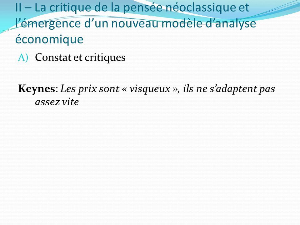 II – La critique de la pensée néoclassique et lémergence dun nouveau modèle danalyse économique A) Constat et critiques Keynes: Les prix sont « visque