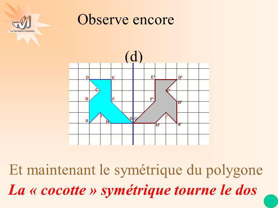 La Géométrie Autrement Et maintenant le symétrique du polygone La « cocotte » symétrique tourne le dos Observe encore (d) I