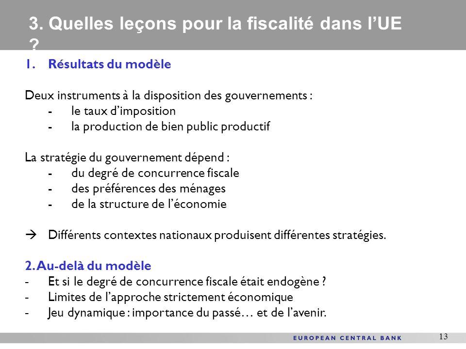13 1.Résultats du modèle Deux instruments à la disposition des gouvernements : -le taux dimposition -la production de bien public productif La stratég
