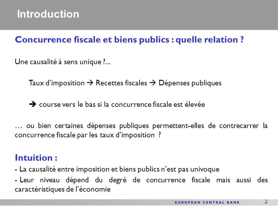 2 Concurrence fiscale et biens publics : quelle relation ? Une causalité à sens unique ?... Taux dimposition Recettes fiscales Dépenses publiques cour