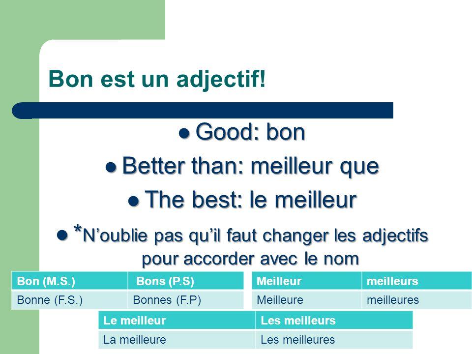 Bon est un adjectif! Good: bon Good: bon Better than: meilleur que Better than: meilleur que The best: le meilleur The best: le meilleur * Noublie pas
